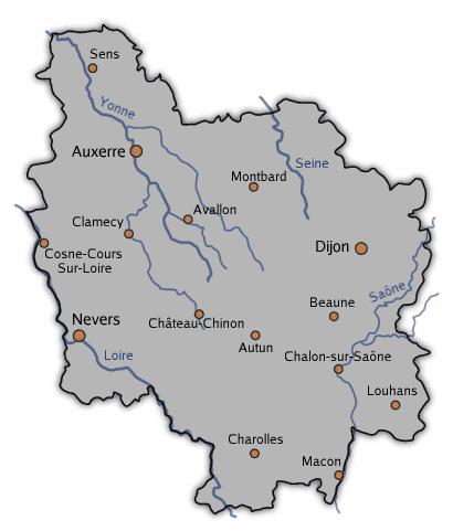 Region Bourgogne Carte Geographique.La Gastronomie Regionale Francaise