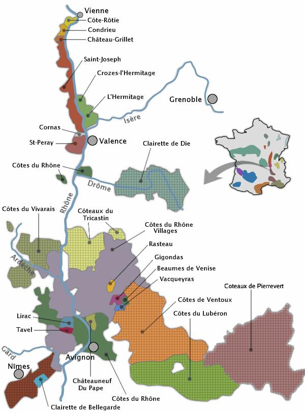 vallée du rhone carte Le vignoble de la vallée du Rhône