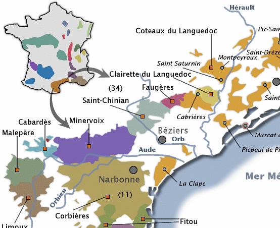 Carte Languedoc Roussillon.Le Vignoble Languedocien